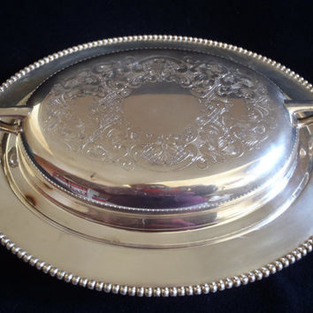 Silverware Casserole with Cover for Service , Fantaisy Silverplated Dish