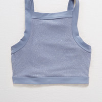 Aerie CHILL High Neck Sports Bra, Skylight