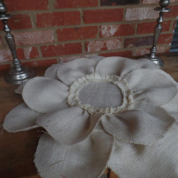 Burlap Oyster  Flower placemat, table cover, centerpiece, Huge 24""