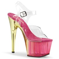 Pink Tinted Ankle Strap Sandal 7 Inch Heels-Stripper Shoes