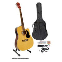 41'' Acoustic-Electric Guitar Package with Gig Bag, Strap, Picks, Tuner, and Strings (Natural Color)