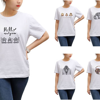 Women Hand Draw Monkeys Printed Short Sleeves T-shirt WTS_17