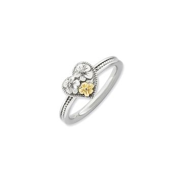Sterling Silver, 14k Gold Plated & Diamond 9mm Floral Heart Stack Ring