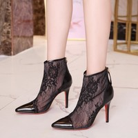 CL Christian Louboutin Women Trending Leather Black High Heel flat Shoes boots Best Quality black lace