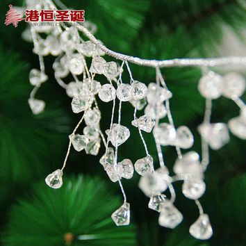 DKF4S Christmas Tree Hanging Decoration 1.1m Length Silver Wire 1cm White Acrylic Crystal Chain Xmas New Year Party Wedding Ornament