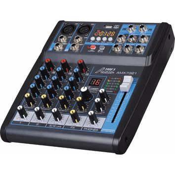 AMX7321 Professional Four-Channel Audio Mixer with Built-In USB Interface