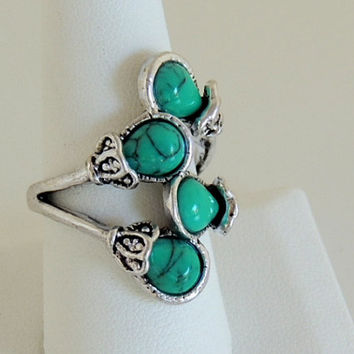 Turquoise Blue Natural Stone, Shape Silvertone Statement-Cocktail Ring, native Ring,Turquoise Jewelry cocktail Ring,