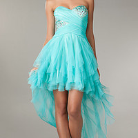 Ruffled High Low Strapless Dress by LA Glo