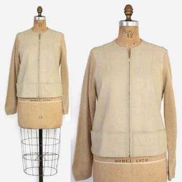 Vintage 60s Leather Panel CARDIGAN / 1960s Camel Hair Zip Front Sweater Jacket M