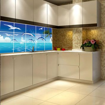 1Pc Waterproof Bathroom Kitchen Wall Sticker Tile Aluminum Foil Home Decor Wall Sticker Dolphin Fish Beach Ocean Free Shipping