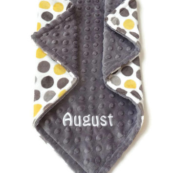 Personalized Minky Baby Blanket - Polka Dot in Lemon Yellow, Gray and White - Gender Neutral Blanket - Personalize Baby Blanket - Polka Dot