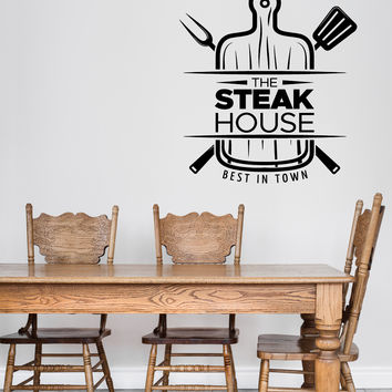 Wall Vinyl Decal Restaurant Signboard Steak House Kitchen Utensils Decor Unique Gift z4850