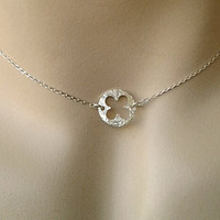 4 Leaf Clover choker Necklace, Clover charm, Birthday, Bridesmaid Gifts, sister / mom gift, girl friend, wife,best friend