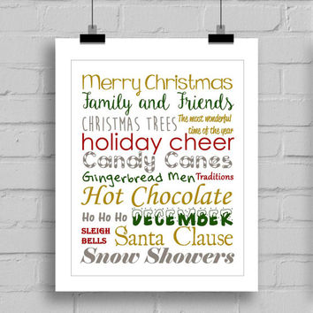 Merry Christmas Word Art Print - Christmas Decoration - Christmas Wall Art - JPG/PDF (8x10 Inches)