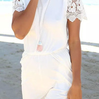White Lace Sleeves Rompers