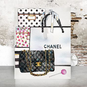 Wall Art Chanel Bag Print Poster - Pop Art, Fashion, Shoes French, Vintage, Art Deco 653