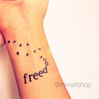 2pcs FREEDOM with flying birds tattoo - InknArt Temporary Tattoo - hand writing temporary tattoo wrist neck ankle anchor bird tattoo