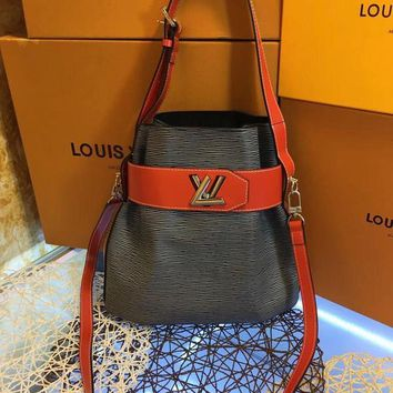 DCCK2 L043 Louis Vuitton LV Water ripples cowhide barrels pack high-capacity single shoulder bag 29.5-29-14.5cm Green Red