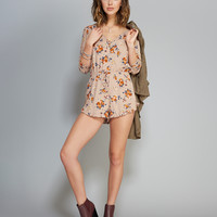 Buttoned Floral Print Romper | Wet Seal