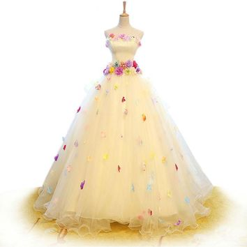 Bridal Gown 3D Flowers Appliques Wedding Dress White Tulle Off shoulder Ball Gown Wedding Dress