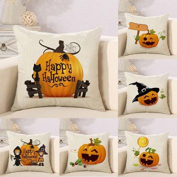 Funny Pumpkin Printed Throw Pillow Cover Cotton Linen Cushion Cover Sauqre Pillow Case for Home Sofa Bed Halloween Decoration
