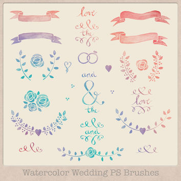 High resolution Watercolor or Chalk Wedding Photoshop Brushes and Clipart Laurels and Banners hand drawn painted invitations scrapbooking