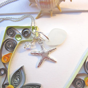 White sea glass with starfish & swarovski crystal - Perfect holiday gift for a beach lover - FREE SHIPPING