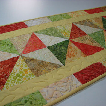 Quilted Table Runner , Spring Batik Patchwork Table Runner , Yellow/Green/Coral