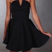Black Simple V Neck Homecoming Dresses
