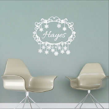 Swirly Frame Personalized Family Name Custom Vinyl Wall Decal  22482