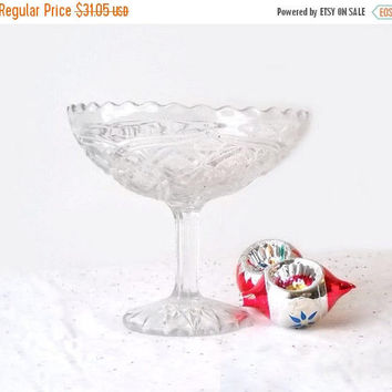 ON SALE - Higbee Glass Compote, Alfa Pattern, Vintage Crystal Pedestal Comport, EAPG Collectible