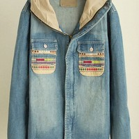 Colored Patched Pockets Hooded Denim Jacket - OASAP.com