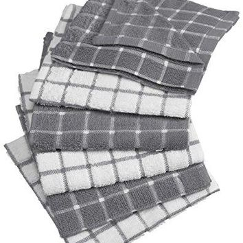 "DII 100% Cotton, Washable, Absorbant, 12 x 12"" Terry Kitchen Dish Cloths, Set of 6- Gray"