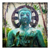 """Peace"" Quote Asian Turquoise Buddha Statue Photo Poster"