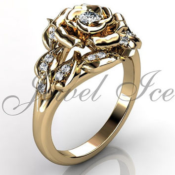 Flower Engagement Ring, 14k Yellow Gold Diamond Unique Flower Engagement Ring Wedding Ring Leaf Ring Art Deco Leaf and Vine Ring ER-1125-2