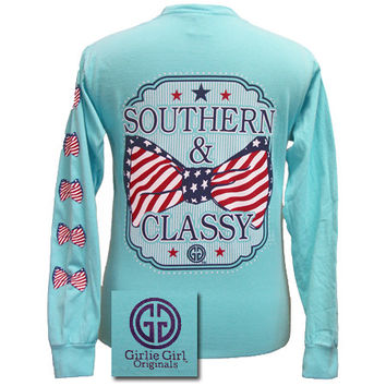 Girlie Girl Originals Southern Classy USA Bow Comfort Colors Lagoon Blue Long Sleeves T Shirt