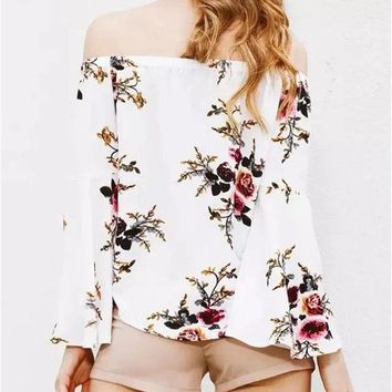 New 2017 Summer Fashion Women Blusa Full Floral Printed Off The Shoulder Round Neck With Elastic Butterfly Sleeve Casual Blouse