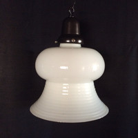 Antique Vintage Bell Milkglass Shade Pendant Light Original 1920s