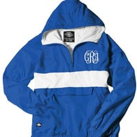 Royal Blue and White Monogrammed Striped Personalized Half Zip Rain Jacket Pullover by Charles River Apparel