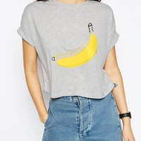 ASOS Tee With Stitched Banana Print at asos.com