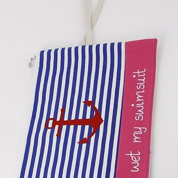 Anchor Striped Swimsuit Clutch