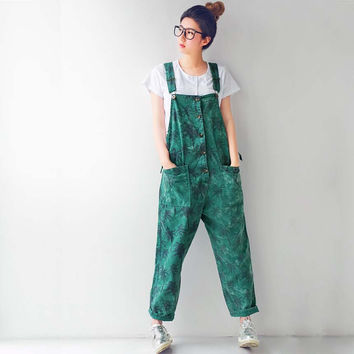 2016 Summer Autumn Coconut Tree Print Jumpsuits Rompers Casual Cotton Overalls for Women 3 Colors