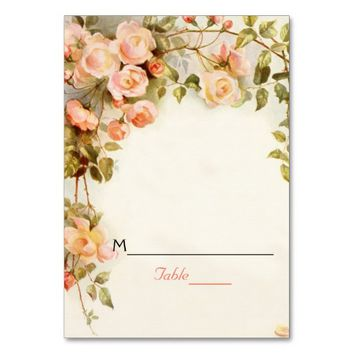 Vintage romantic roses wedding place card table card