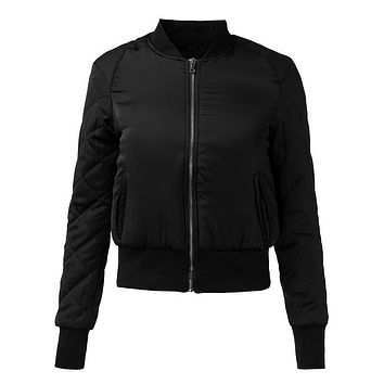ZANZEA Fashion Winter Warm Biker Bomber Jacket Women Solid Quilted Zipper Casual Slim Padded Outwear Motorcycle Coat