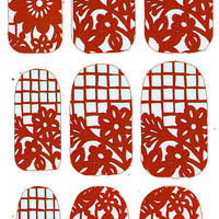 RED Papel Picado Mexican Cut Paper Nail Decals