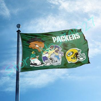 Green Bay Packers Flag with Detroit Lions Flag Flag Large Outdoor Flag 3' x 5'