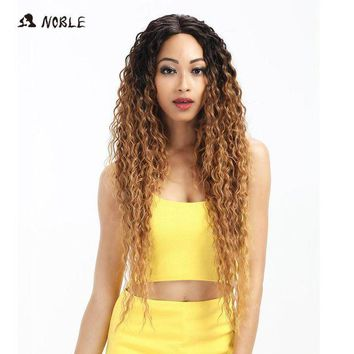 LMFG8W Noble Hair Lace Front Wig 30 Inch Long Wave Dark Root Synthetic Wigs For Black Women 2 Colors Available Free Shipping