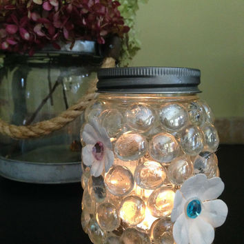DIY Beaded Mason Jar Kit/mason jar craft/beaded candle holder/candleholder/glass candle holder/craft kit/holiday gift/gift for her/candle