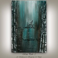 Painting, Modern Landscape Art Painting Tree, Original canvas art, landscape wall art decor, Large abstract oil painting By Nandita