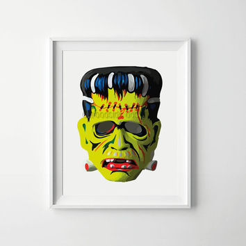 Frankenstein Halloween Art Print, Scary Halloween Print, halloween mask Print, Halloween Decoration, Printable art,Frankenstein Print